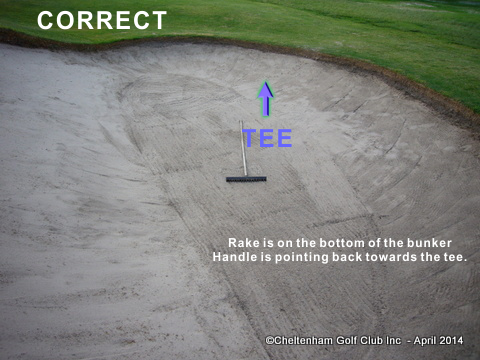 Rake correctly placed in bunker